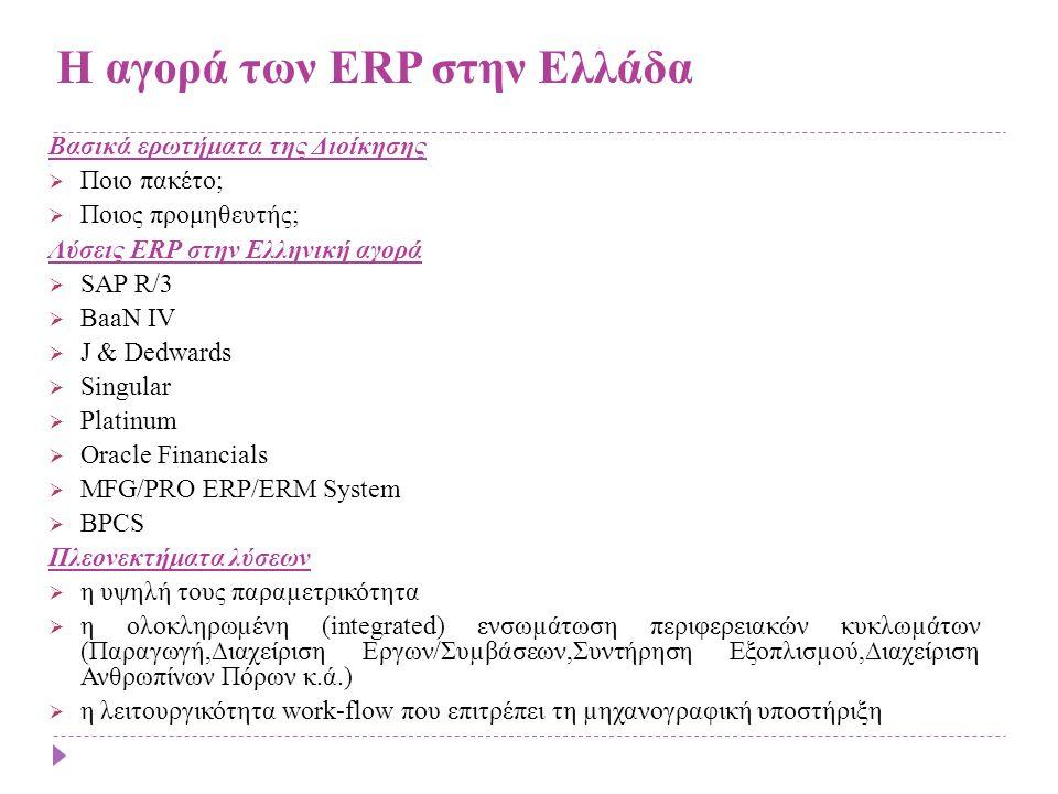 Η αγορά των ERP στην Ελλάδα Βασικά ερωτήματα της Διοίκησης  Ποιο πακέτο;  Ποιος προμηθευτής; Λύσεις ERP στην Ελληνική αγορά  SAP R/3  BaaN IV  J