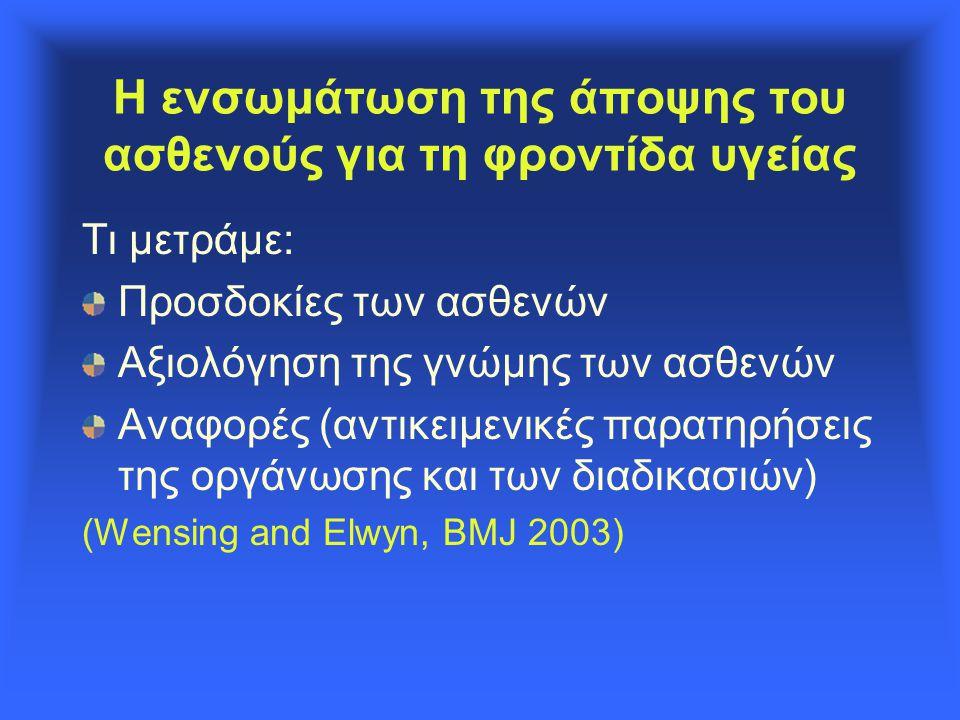Η ενσωμάτωση της άποψης του ασθενούς για τη φροντίδα υγείας Τι μετράμε: Προσδοκίες των ασθενών Αξιολόγηση της γνώμης των ασθενών Αναφορές (αντικειμενικές παρατηρήσεις της οργάνωσης και των διαδικασιών) (Wensing and Elwyn, BMJ 2003)