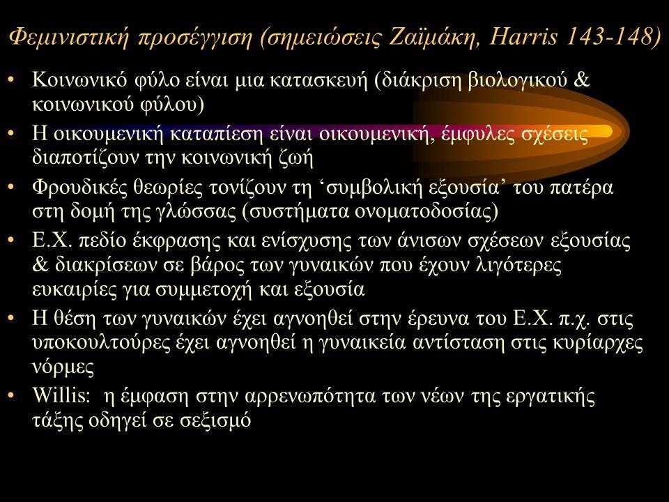 Φεμινιστική προσέγγιση (σημειώσεις Ζαϊμάκη, Harris 143-148) Koινωνικό φύλο είναι μια κατασκευή (διάκριση βιολογικού & κοινωνικού φύλου) Η οικουμενική καταπίεση είναι οικουμενική, έμφυλες σχέσεις διαποτίζουν την κοινωνική ζωή Φρουδικές θεωρίες τονίζουν τη 'συμβολική εξουσία' του πατέρα στη δομή της γλώσσας (συστήματα ονοματοδοσίας) Ε.Χ.