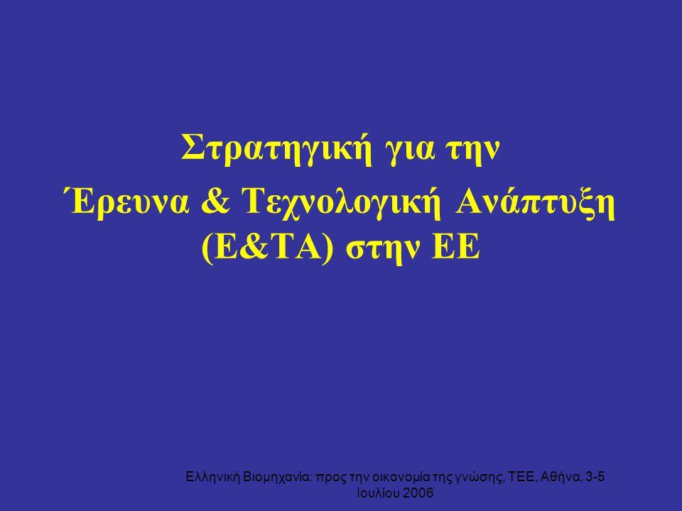 Ελληνική Βιομηχανία: προς την οικονομία της γνώσης, ΤΕΕ, Αθήνα, 3-5 Ιουλίου 2006 Στρατηγική για την Έρευνα & Τεχνολογική Ανάπτυξη (Ε&ΤΑ) στην ΕΕ
