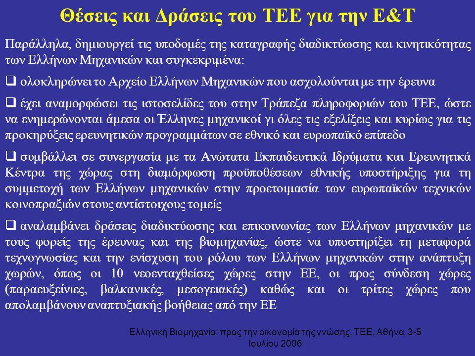 Ελληνική Βιομηχανία: προς την οικονομία της γνώσης, ΤΕΕ, Αθήνα, 3-5 Ιουλίου 2006 Θέσεις και Δράσεις του ΤΕΕ για την Ε&Τ Παράλληλα, δημιουργεί τις υποδ
