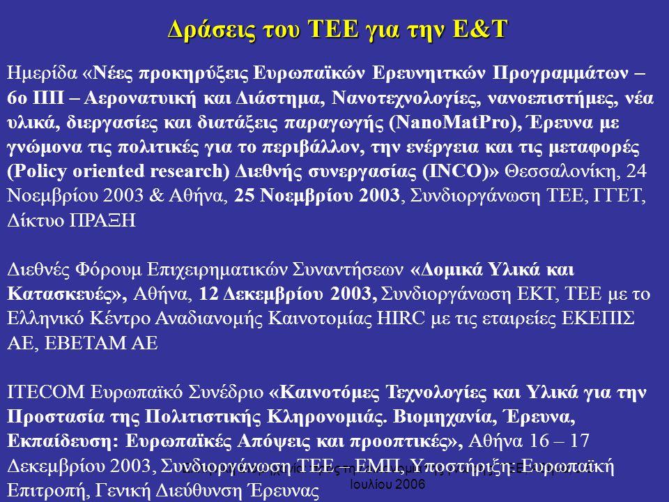 Ελληνική Βιομηχανία: προς την οικονομία της γνώσης, ΤΕΕ, Αθήνα, 3-5 Ιουλίου 2006 Ημερίδα «Νέες προκηρύξεις Ευρωπαϊκών Ερευνηιτκών Προγραμμάτων – 6ο ΠΠ