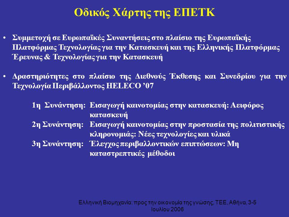 Ελληνική Βιομηχανία: προς την οικονομία της γνώσης, ΤΕΕ, Αθήνα, 3-5 Ιουλίου 2006 Συμμετοχή σε Ευρωπαϊκές Συναντήσεις στο πλαίσιο της Ευρωπαϊκής Πλατφό