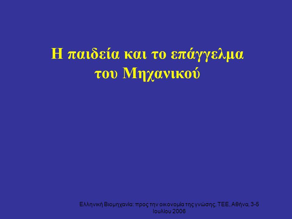 Ελληνική Βιομηχανία: προς την οικονομία της γνώσης, ΤΕΕ, Αθήνα, 3-5 Ιουλίου 2006 Η παιδεία και το επάγγελμα του Μηχανικού
