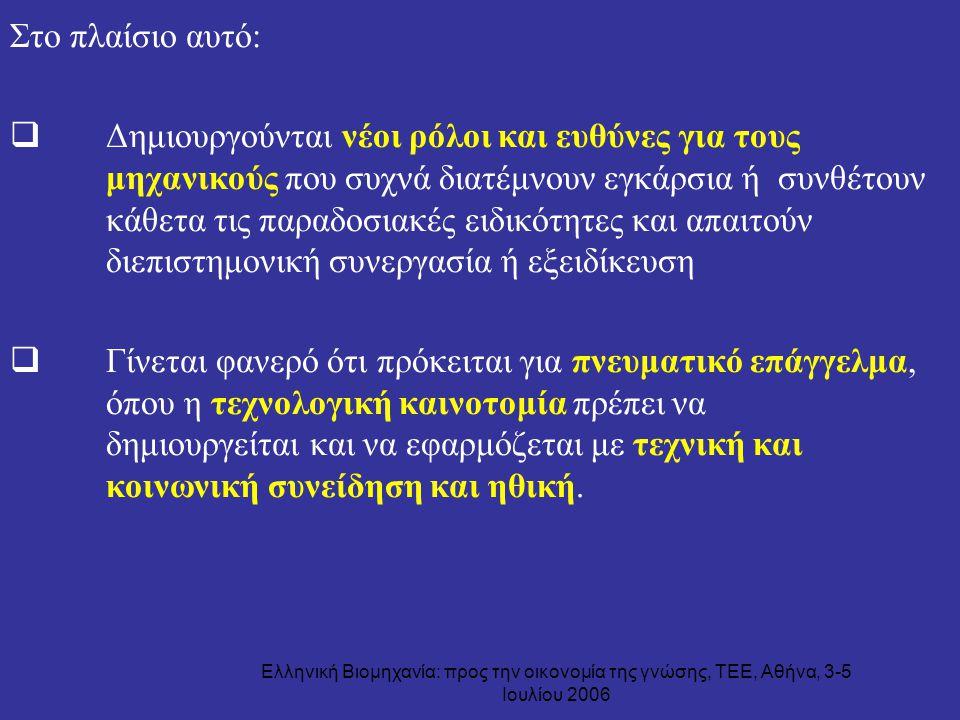 Ελληνική Βιομηχανία: προς την οικονομία της γνώσης, ΤΕΕ, Αθήνα, 3-5 Ιουλίου 2006 Στο πλαίσιο αυτό:  Δημιουργούνται νέοι ρόλοι και ευθύνες για τους μη