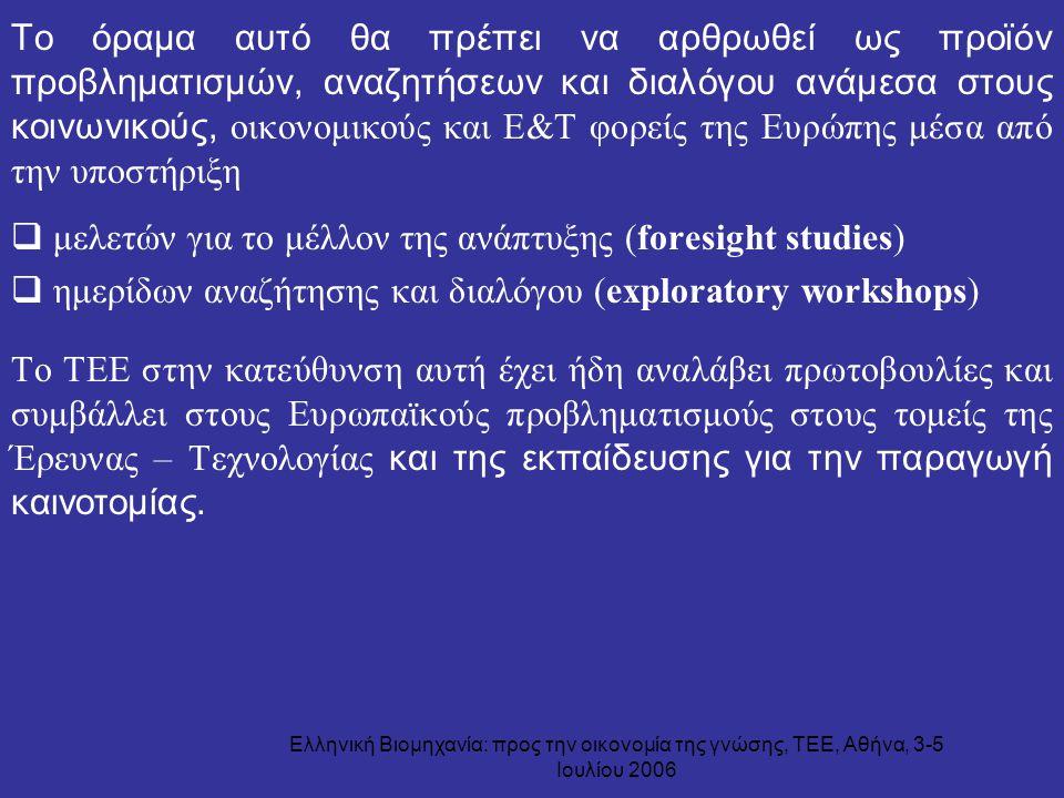 Ελληνική Βιομηχανία: προς την οικονομία της γνώσης, ΤΕΕ, Αθήνα, 3-5 Ιουλίου 2006 Το όραμα αυτό θα πρέπει να αρθρωθεί ως προϊόν προβληματισμών, αναζητή