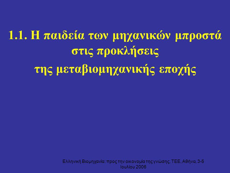 Ελληνική Βιομηχανία: προς την οικονομία της γνώσης, ΤΕΕ, Αθήνα, 3-5 Ιουλίου 2006 1.1. Η παιδεία των μηχανικών μπροστά στις προκλήσεις της μεταβιομηχαν