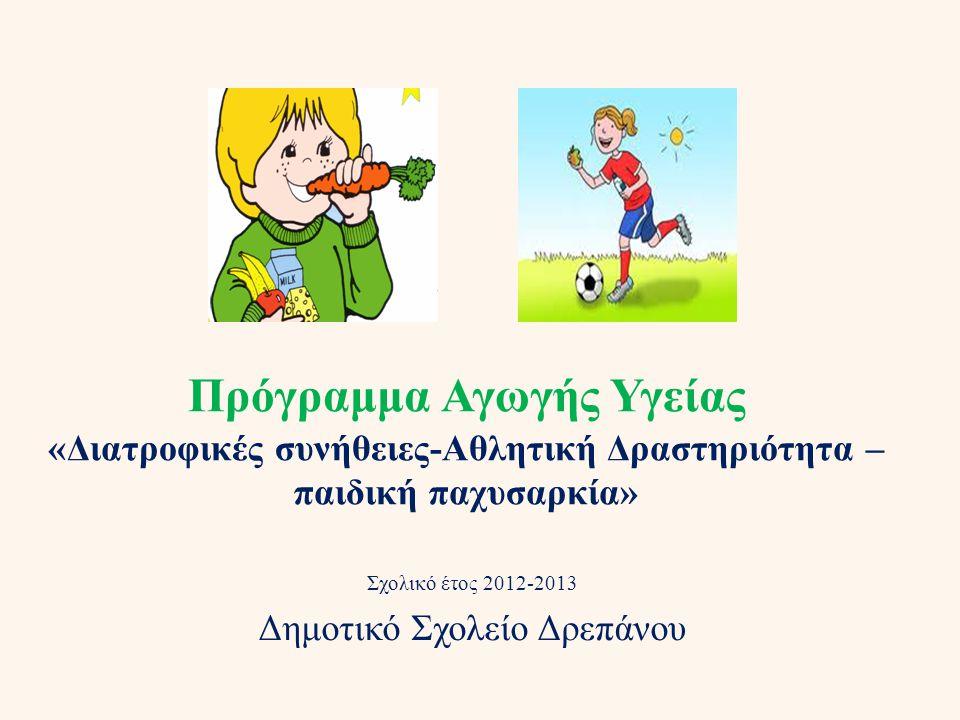 Πρόγραμμα Αγωγής Υγείας «Διατροφικές συνήθειες-Αθλητική Δραστηριότητα – παιδική παχυσαρκία» Σχολικό έτος 2012-2013 Δημοτικό Σχολείο Δρεπάνου