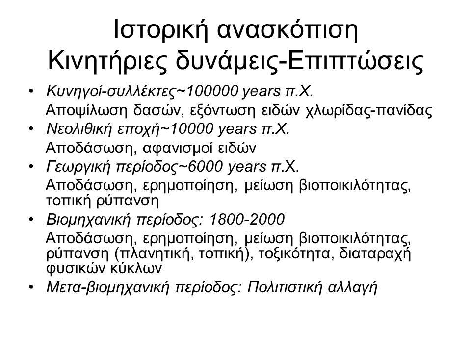 Ιστορική ανασκόπιση Κινητήριες δυνάμεις-Επιπτώσεις Κυνηγοί-συλλέκτες~100000 years π.Χ. Αποψίλωση δασών, εξόντωση ειδών χλωρίδας-πανίδας Νεολιθική εποχ