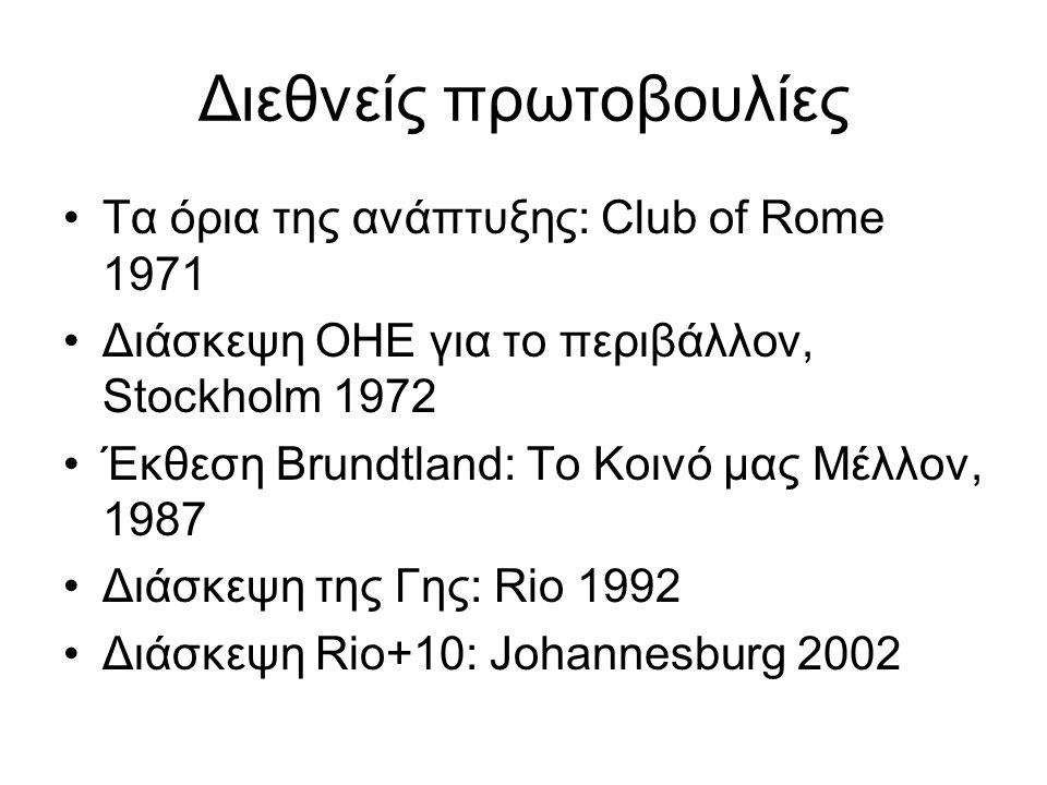 Τα όρια της ανάπτυξης: Club of Rome 1971 Διάσκεψη ΟΗΕ για το περιβάλλον, Stockholm 1972 Έκθεση Brundtland: Το Κοινό μας Μέλλον, 1987 Διάσκεψη της Γης: Rio 1992 Διάσκεψη Rio+10: Johannesburg 2002