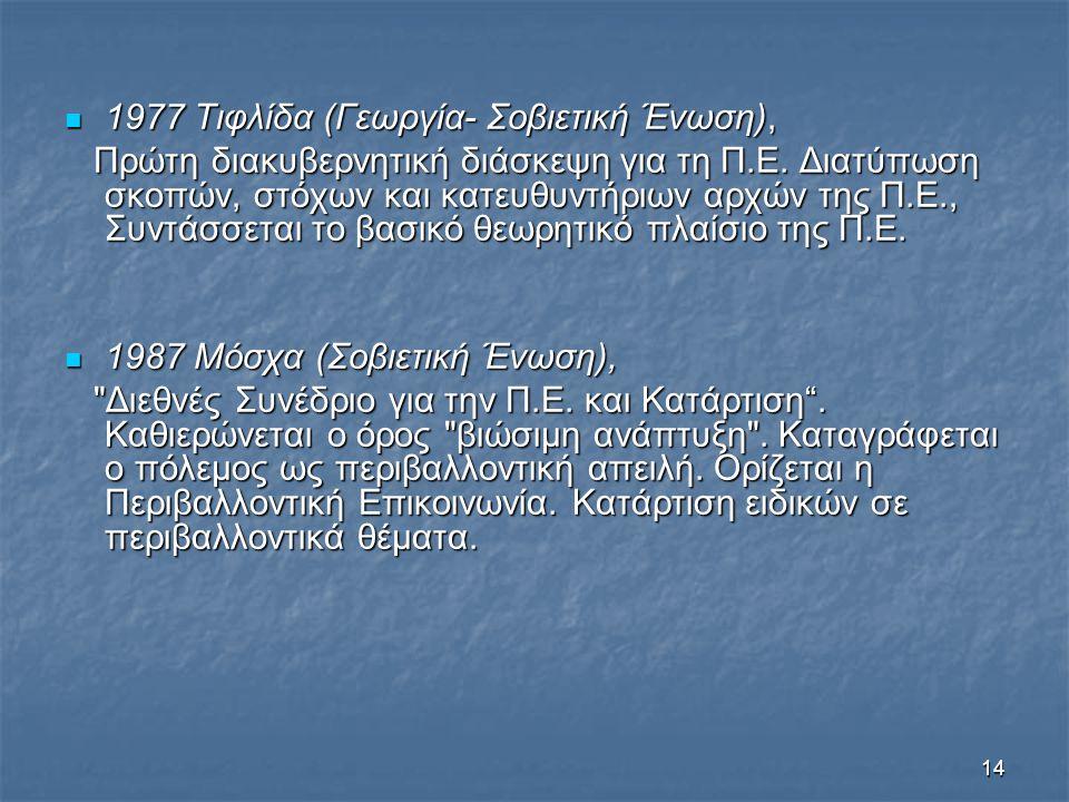 14 1977 Τιφλίδα (Γεωργία- Σοβιετική Ένωση), 1977 Τιφλίδα (Γεωργία- Σοβιετική Ένωση), Πρώτη διακυβερνητική διάσκεψη για τη Π.Ε. Διατύπωση σκοπών, στόχω