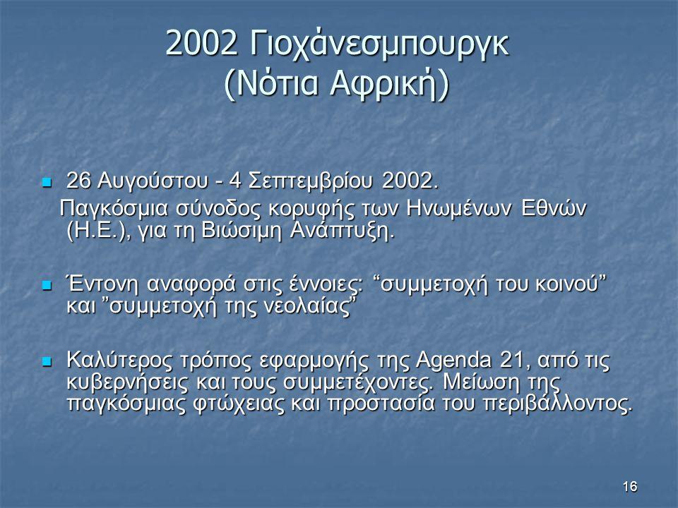 16 2002 Γιοχάνεσμπουργκ (Νότια Αφρική) 26 Αυγούστου - 4 Σεπτεμβρίου 2002. 26 Αυγούστου - 4 Σεπτεμβρίου 2002. Παγκόσμια σύνοδος κορυφής των Ηνωμένων Εθ
