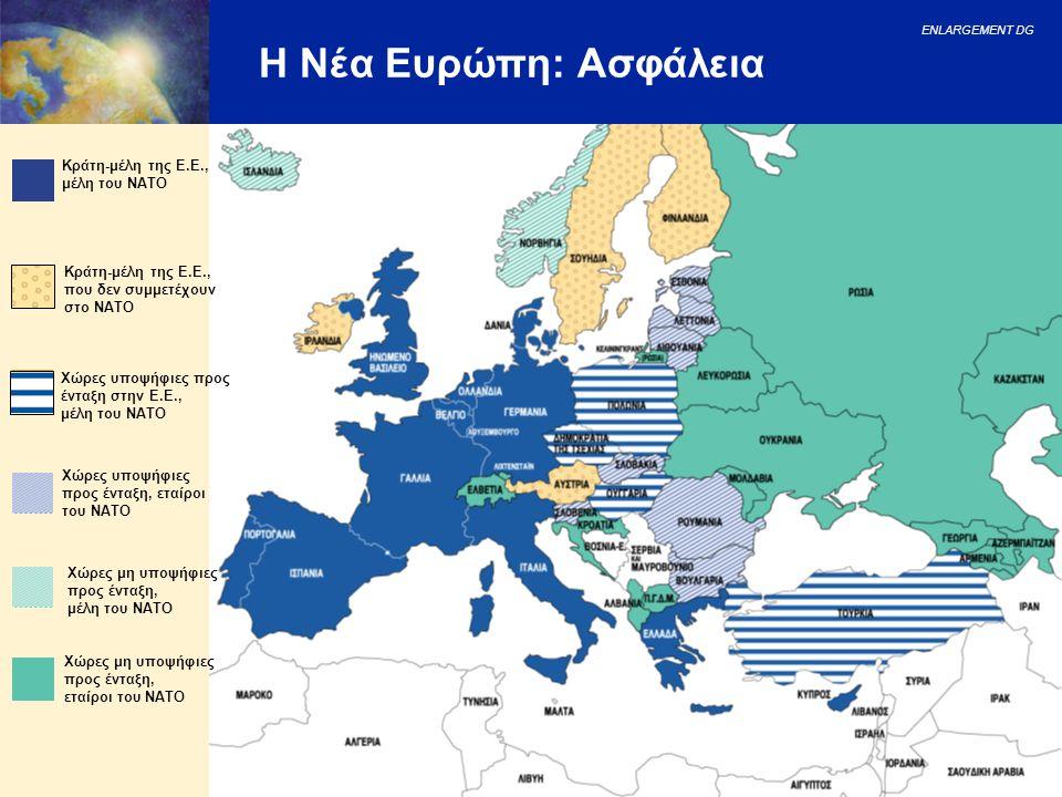 ENLARGEMENT DG 17 Η Νέα Ευρώπη: Ασφάλεια Κράτη-μέλη της Ε.Ε., μέλη του NATO Χώρες υποψήφιες προς ένταξη, εταίροι του NATO Χώρες υποψήφιες προς ένταξη