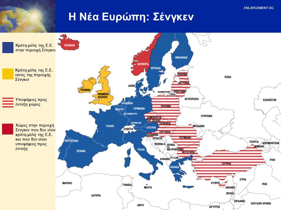 ENLARGEMENT DG 18 Η Νέα Ευρώπη: Σένγκεν Κράτη-μέλη της Ε.Ε. εκτός της περιοχής Σένγκεν Υποψήφιες προς ένταξη χώρες Κράτη-μέλη της Ε.Ε. στην περιοχή Σέ
