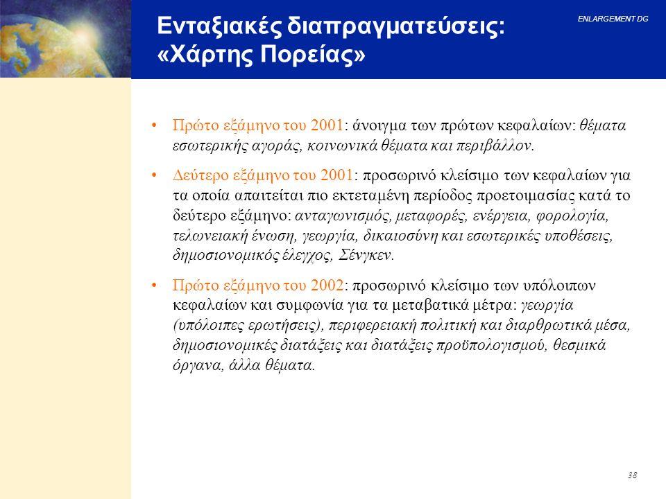 ENLARGEMENT DG 38 Ενταξιακές διαπραγματεύσεις: «Χάρτης Πορείας» Πρώτο εξάμηνο του 2001: άνοιγμα των πρώτων κεφαλαίων: θέματα εσωτερικής αγοράς, κοινων