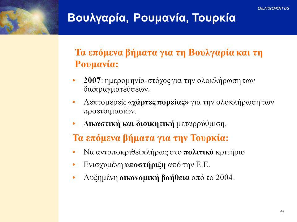 ENLARGEMENT DG 44 Βουλγαρία, Ρουμανία, Τουρκία 2007: ημερομηνία-στόχος για την ολοκλήρωση των διαπραγματεύσεων. Λεπτομερείς «χάρτες πορείας» για την ο