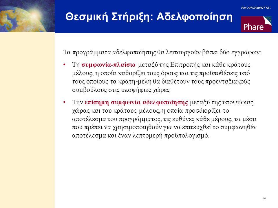ENLARGEMENT DG 56 Θεσμική Στήριξη: Αδελφοποίηση Τα προγράμματα αδελφοποίησης θα λειτουργούν βάσει δύο εγγράφων: Τη συμφωνία-πλαίσιο μεταξύ της Επιτροπ