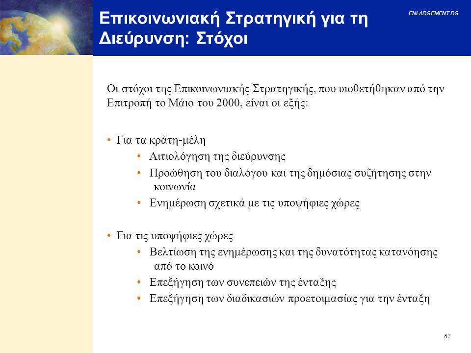 ENLARGEMENT DG 67 Επικοινωνιακή Στρατηγική για τη Διεύρυνση: Στόχοι Οι στόχοι της Επικοινωνιακής Στρατηγικής, που υιοθετήθηκαν από την Επιτροπή το Μάι