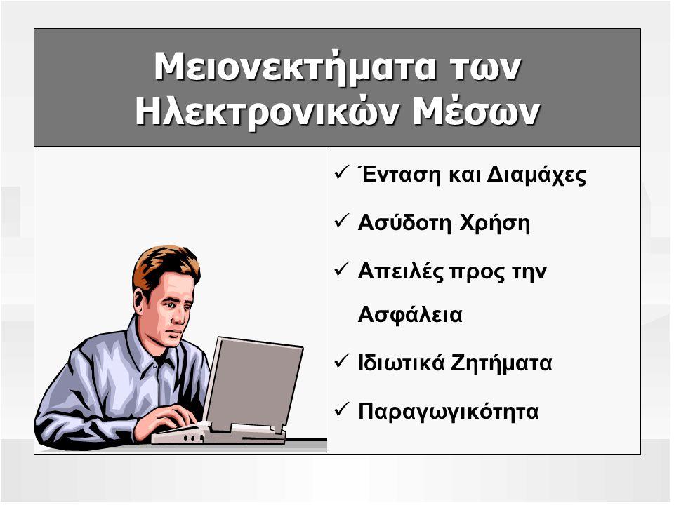Μειονεκτήματα των Ηλεκτρονικών Μέσων Ένταση και Διαμάχες Ασύδοτη Χρήση Απειλές προς την Ασφάλεια Ιδιωτικά Ζητήματα Παραγωγικότητα