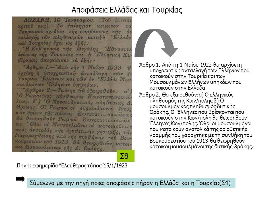Αποφάσεις Ελλάδας και Τουρκίας Άρθρο 1. Από τη 1 Μαΐου 1923 θα αρχίσει η υποχρεωτική ανταλλαγή των Ελλήνων που κατοικούν στην Τουρκία και των Μουσουλμ
