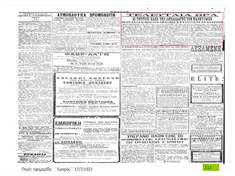 Πηγή: εφημερίδα ΄΄Εμπρός΄΄17/7/1923 Σ12