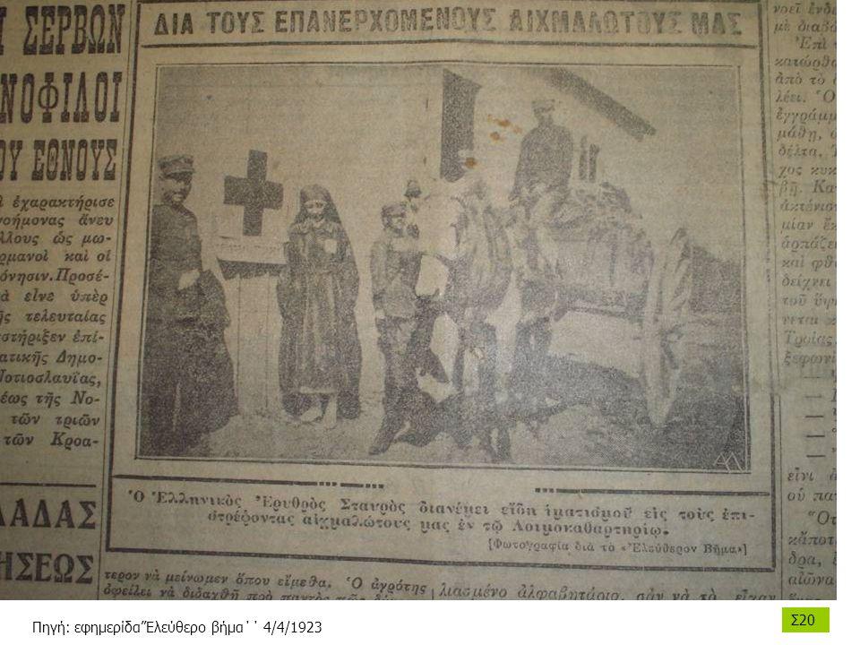 Σ20 Πηγή: εφημερίδα''Ελεύθερο βήμα΄΄ 4/4/1923