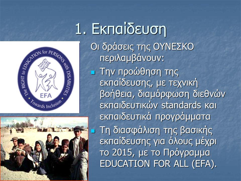 1. Εκπαίδευση Οι δράσεις της ΟΥΝΕΣΚΟ περιλαμβάνουν: Την προώθηση της εκπαίδευσης, με τεχνική βοήθεια, διαμόρφωση διεθνών εκπαιδευτικών standards και ε