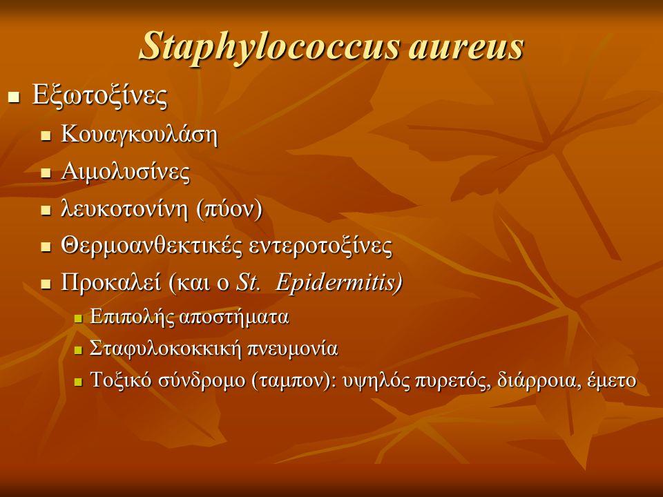 Staphylococcus aureus Εξωτοξίνες Εξωτοξίνες Κουαγκουλάση Κουαγκουλάση Αιμολυσίνες Αιμολυσίνες λευκοτονίνη (πύον) λευκοτονίνη (πύον) Θερμοανθεκτικές εντεροτοξίνες Θερμοανθεκτικές εντεροτοξίνες Προκαλεί (και ο St.