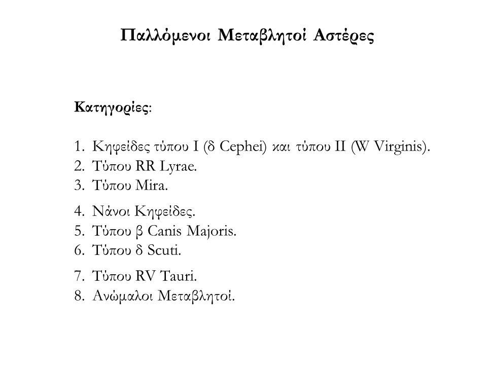 Παλλόμενοι Μεταβλητοί Αστέρες Κατηγορίες: 1.Κηφείδες τύπου Ι (δ Cephei) και τύπου ΙΙ (W Virginis). 2.Τύπου RR Lyrae. 3.Τύπου Mira. 4.Νάνοι Κηφείδες. 5