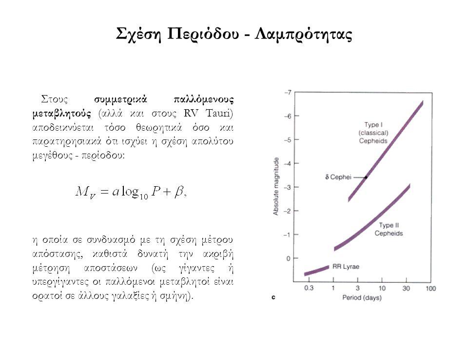 Σχέση Περιόδου - Λαμπρότητας Στους συμμετρικά παλλόμενους μεταβλητούς (αλλά και στους RV Tauri) αποδεικνύεται τόσο θεωρητικά όσο και παρατηρησιακά ότι