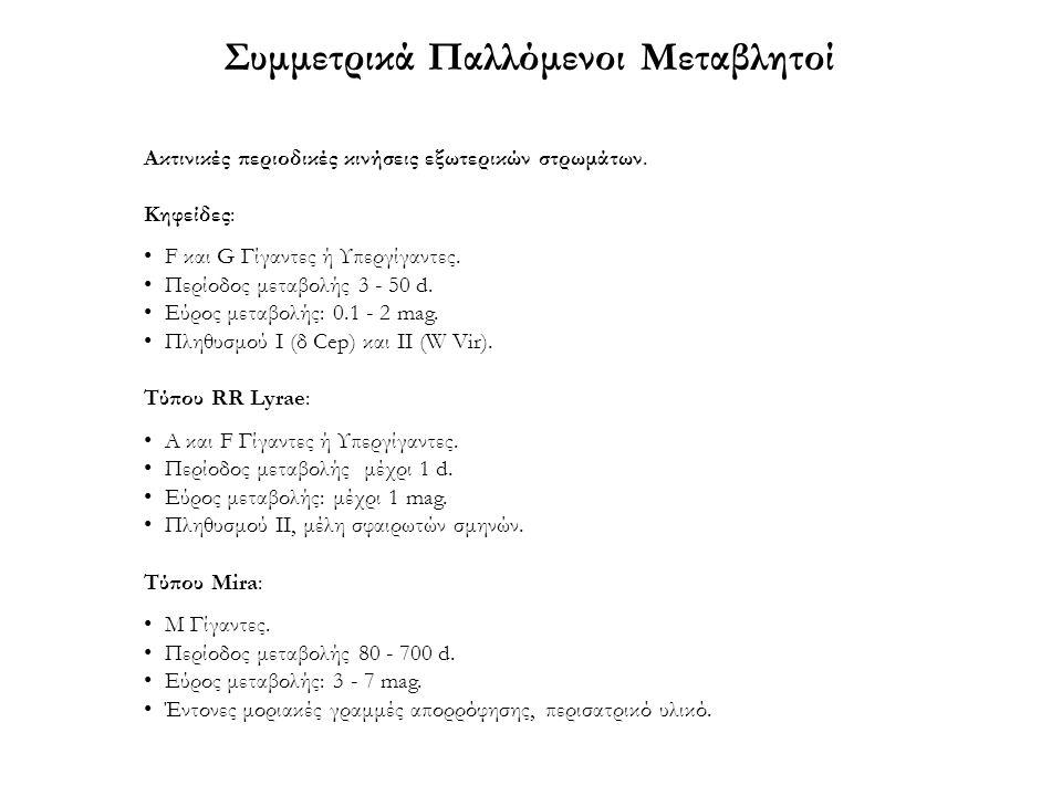 Συμμετρικά Παλλόμενοι Μεταβλητοί Ακτινικές περιοδικές κινήσεις εξωτερικών στρωμάτων. Κηφείδες: F και G Γίγαντες ή Υπεργίγαντες. Περίοδος μεταβολής 3 -