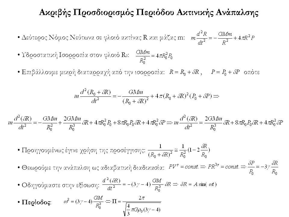 Ακριβής Προσδιορισμός Περιόδου Ακτινικής Ανάπαλσης Δεύτερος Νόμος Νεύτωνα σε φλοιό ακτίνας R και μάζας m: Υδροστατική Ισορροπία στον φλοιό R 0 : Επιβά
