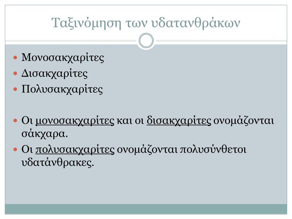 Ταξινόμηση των υδατανθράκων Μονοσακχαρίτες Γλυκόζη.