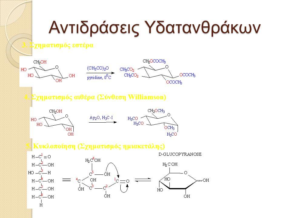 Αντιδράσεις Υδατανθράκων 3. Σχηματισμός εστέρα 4. Σχηματισμός αιθέρα (Σύνθεση Williamson) 5. Κυκλοποίηση (Σχηματισμός ημιακετάλης)