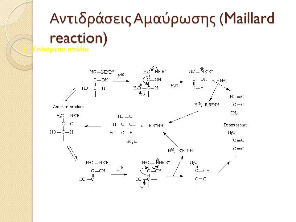 Αντιδράσεις A μαύρωσης (Maillard reaction) 3. Ενδιάμεσα στάδια
