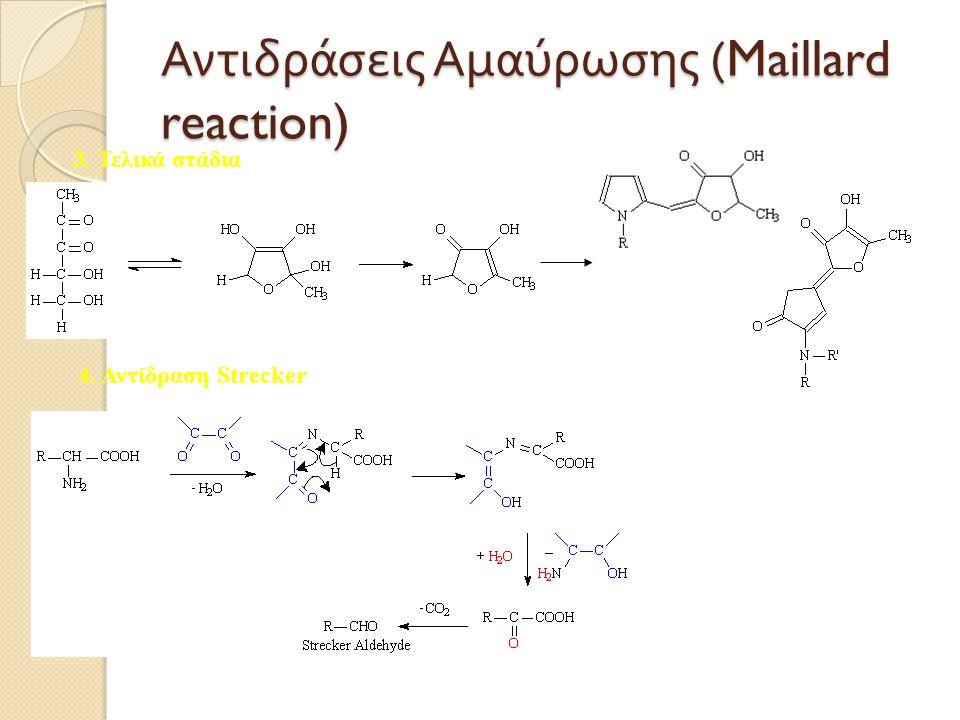 Αντιδράσεις A μαύρωσης (Maillard reaction) 3. Τελικά στάδια 4. Αντίδραση Strecker