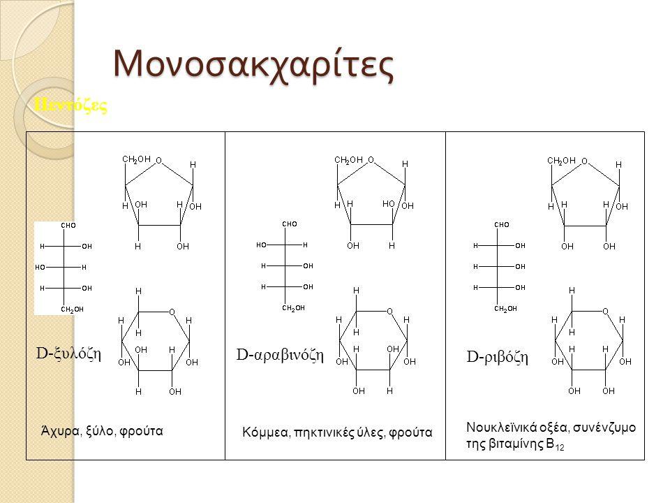 Μονοσακχαρίτες Πεντόζες D-ξυλόζη D-ριβόζη D-αραβινόζη Άχυρα, ξύλο, φρούτα Κόμμεα, πηκτινικές ύλες, φρούτα Νουκλεϊνικά οξέα, συνένζυμο της βιταμίνης Β