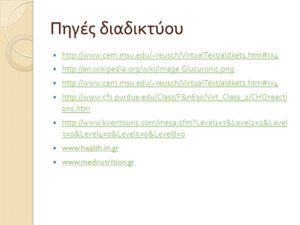 Πηγές διαδικτύου http://www.cem.msu.edu/~reusch/VirtualText/aldket1.htm#rx4 http://en.wikipedia.org/wiki/Image:Glucuronic.png http://www.cem.msu.edu/~
