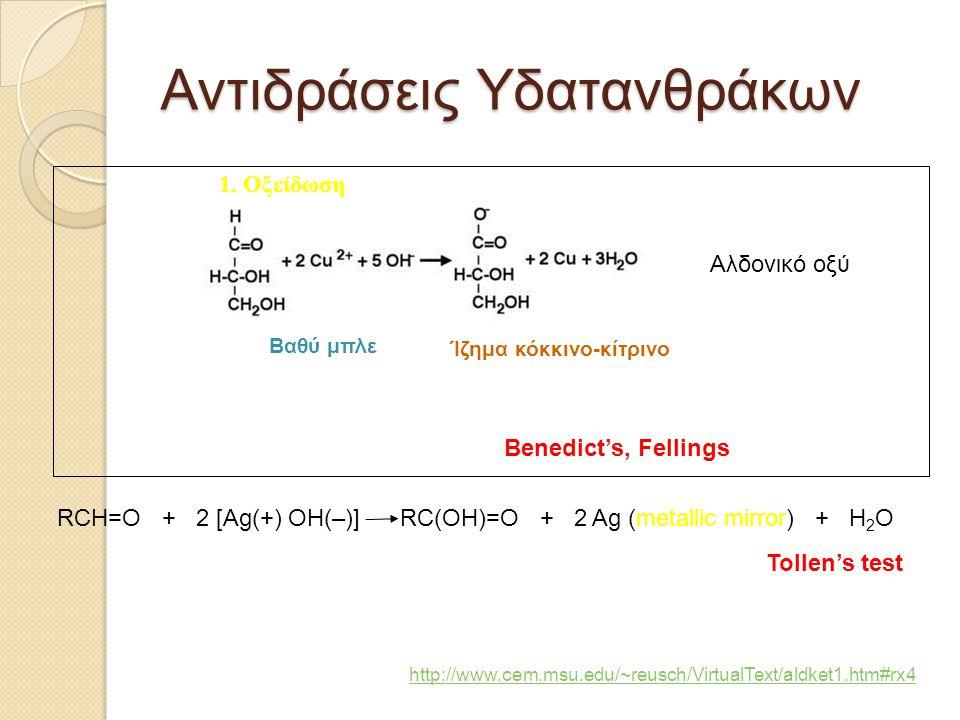 Αντιδράσεις Υδατανθράκων 1. Οξείδωση RCH=O + 2 [Ag(+) OH(–)] RC(OH)=O + 2 Ag (metallic mirror) + H 2 O Tollen's test Benedict's, Fellings Βαθύ μπλε Ίζ