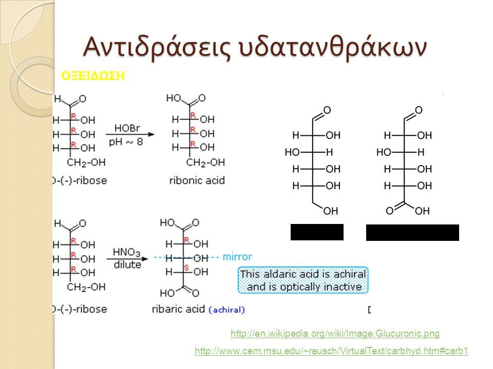 Αντιδράσεις υδατανθράκων http://www.cem.msu.edu/~reusch/VirtualText/carbhyd.htm#carb1 http://en.wikipedia.org/wiki/Image:Glucuronic.png γλυκόζη Γλυκου