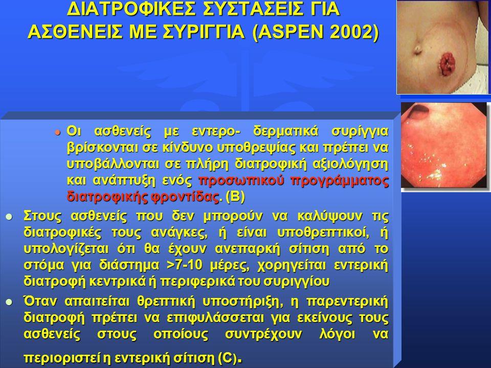 Θωμαή Καραγκιόζογλου- Λαμπούδη ΔΙΑΤΡΟΦΙΚΕΣ ΣΥΣΤΑΣΕΙΣ ΓΙΑ ΑΣΘΕΝΕΙΣ ΜΕ ΣΥΡΙΓΓΙΑ (ΑSPEN 2002) l Οι ασθενείς με εντερο- δερματικά συρίγγια βρίσκονται σε κ