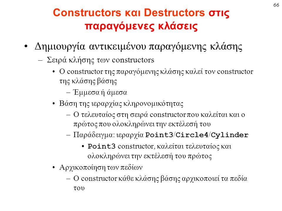 66 Constructors και Destructors στις παραγόμενες κλάσεις Δημιουργία αντικειμένου παραγόμενης κλάσης –Σειρά κλήσης των constructors Ο constructor της παραγόμενης κλάσης καλεί τον constructor της κλάσης βάσης –Έμμεσα ή άμεσα Βάση της ιεραρχίας κληρονομικότητας –Ο τελευταίος στη σειρά constructor που καλείται και ο πρώτος που ολοκληρώνει την εκτέλεσή του –Παράδειγμα: ιεραρχία Point3 / Circle4 / Cylinder Point3 constructor, καλείται τελευταίος και ολοκληρώνει την εκτέλεσή του πρώτος Αρχικοποίηση των πεδίων –Ο constructor κάθε κλάσης βάσης αρχικοποιεί τα πεδία του