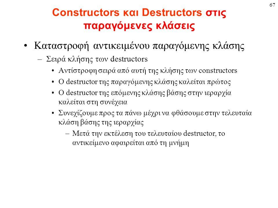 67 Constructors και Destructors στις παραγόμενες κλάσεις Καταστροφή αντικειμένου παραγόμενης κλάσης –Σειρά κλήσης των destructors Αντίστροφη σειρά από αυτή της κλήσης των constructors O destructor της παραγόμενης κλάσης καλείται πρώτος O destructor της επόμενης κλάσης βάσης στην ιεραρχία καλείται στη συνέχεια Συνεχίζουμε προς τα πάνω μέχρι να φθάσουμε στην τελευταία κλάση βάσης της ιεραρχίας –Μετά την εκτέλεση του τελευταίου destructor, το αντικείμενο αφαιρείται από τη μνήμη