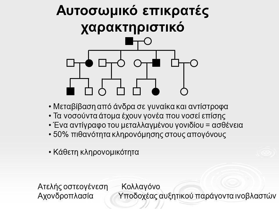 Η αποτύπωση στις γενετικές ασθένειες  Κάποιες γενετικές ασθένειες σχετίζονται με αυτό το φαινόμενο  Προκαλούνται από Μονογονεϊκή δισωμία (x2 του ίδιου ή καθόλου έκφραση) Μονογονεϊκή δισωμία (x2 του ίδιου ή καθόλου έκφραση)