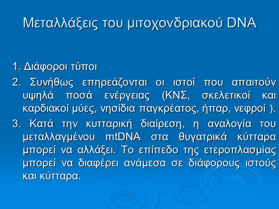 Μεταλλάξεις του μιτοχονδριακού DNA 1.Διάφοροι τύποι 2.