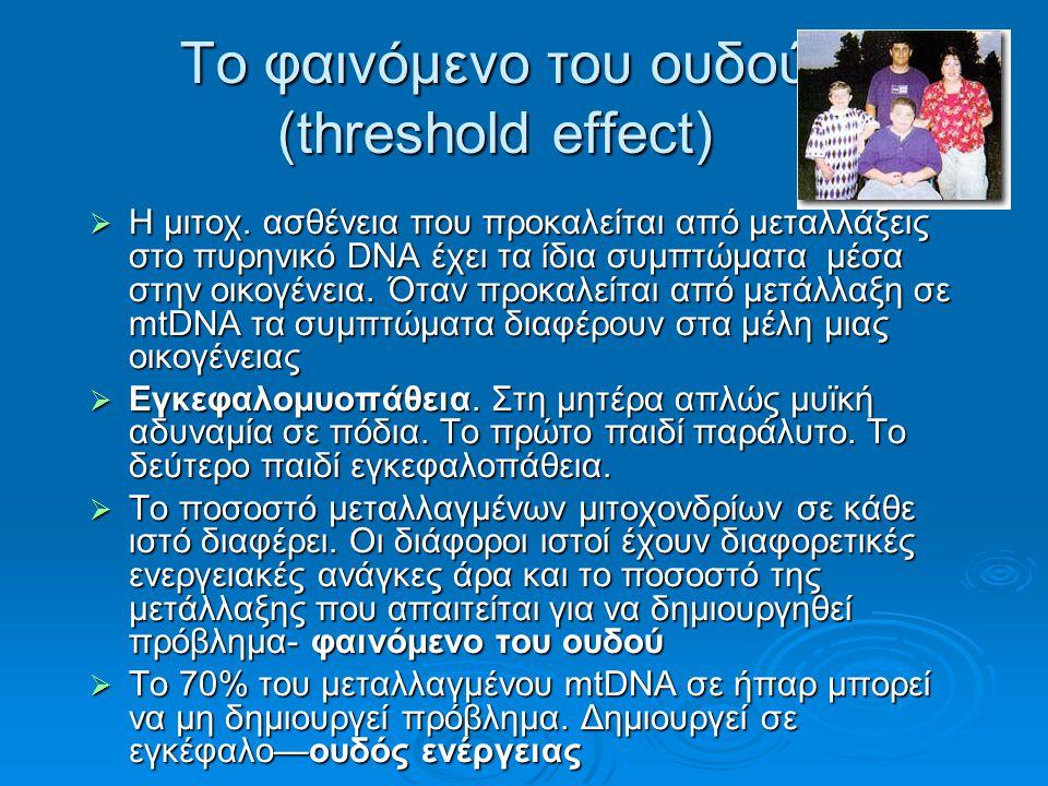 Το φαινόμενο του ουδού (threshold effect)  Η μιτοχ.