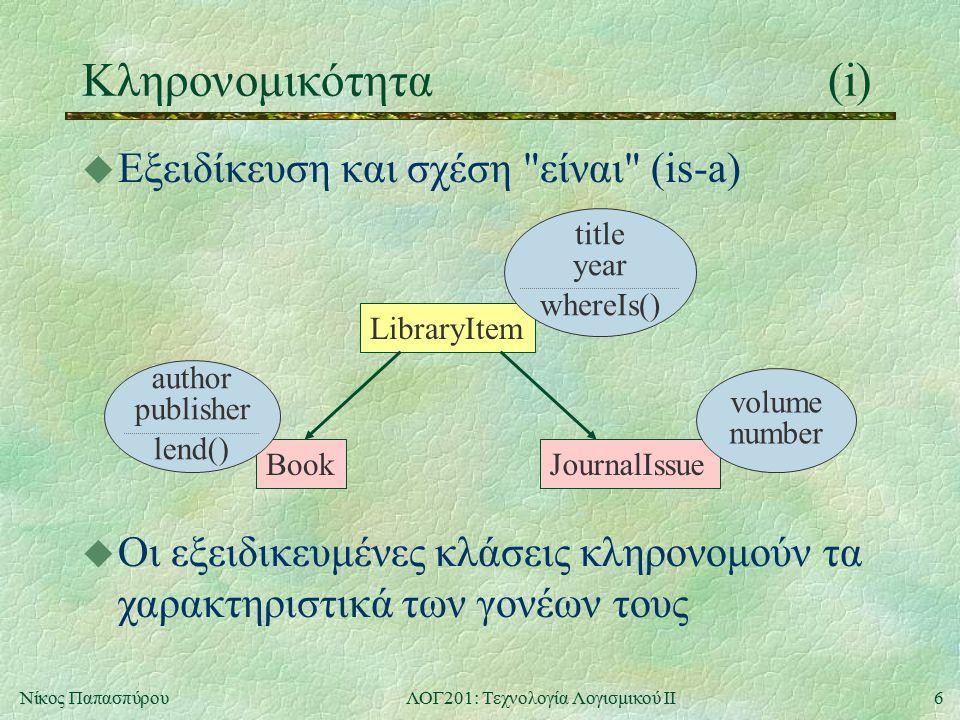 6Νίκος ΠαπασπύρουΛΟΓ201: Τεχνολογία Λογισμικού ΙΙ Κληρονομικότητα(i) u Εξειδίκευση και σχέση είναι (is-a) LibraryItem BookJournalIssue volume number u Οι εξειδικευμένες κλάσεις κληρονομούν τα χαρακτηριστικά των γονέων τους title year whereIs() author publisher lend()