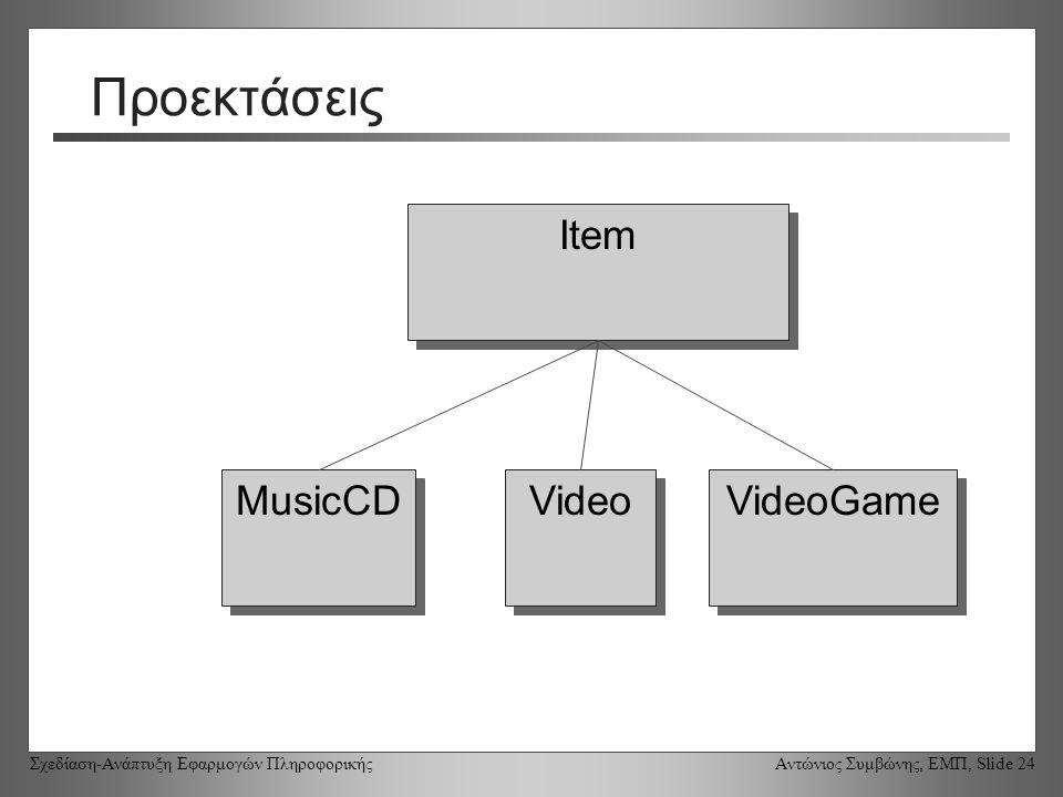 Σχεδίαση-Ανάπτυξη Εφαρμογών Πληροφορικής Αντώνιος Συμβώνης, ΕΜΠ, Slide 24 Προεκτάσεις Item VideoGame MusicCD Video