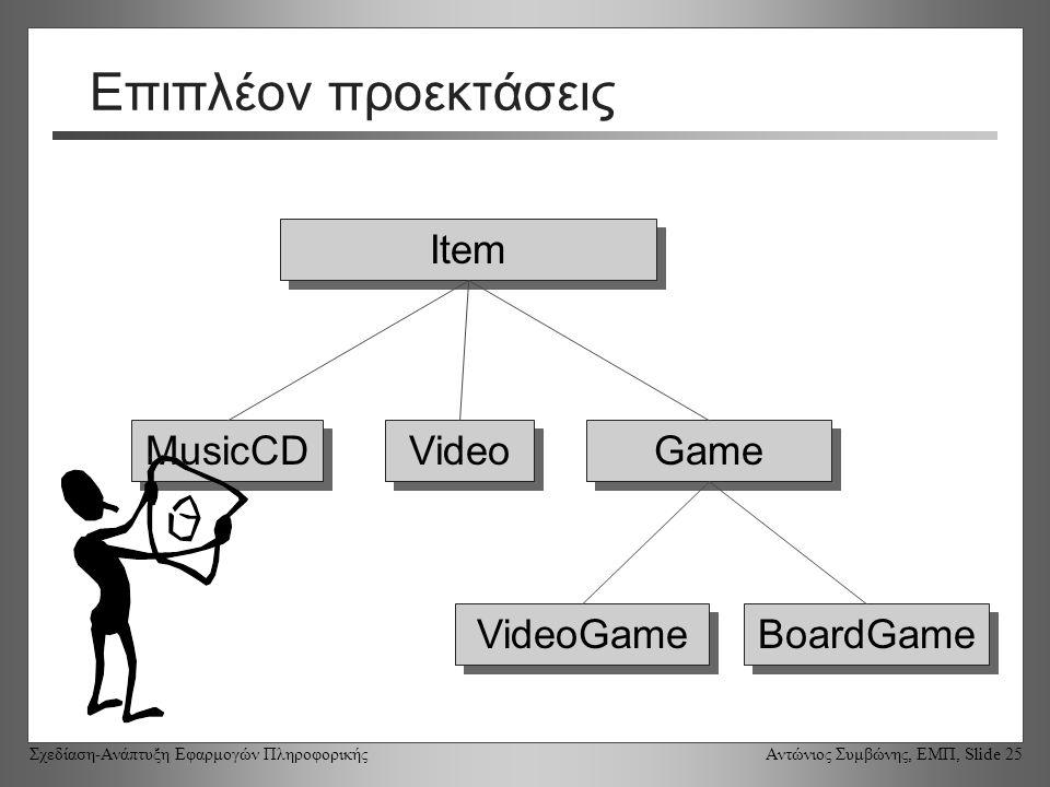 Σχεδίαση-Ανάπτυξη Εφαρμογών Πληροφορικής Αντώνιος Συμβώνης, ΕΜΠ, Slide 25 Επιπλέον προεκτάσεις Item Game MusicCD VideoGame Video BoardGame