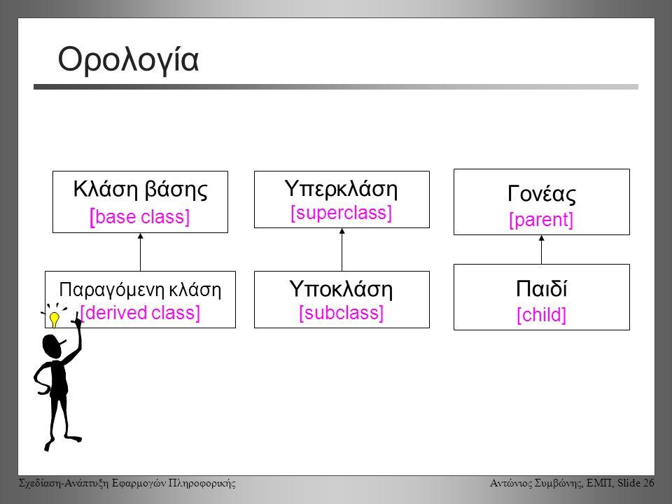 Σχεδίαση-Ανάπτυξη Εφαρμογών Πληροφορικής Αντώνιος Συμβώνης, ΕΜΠ, Slide 26 Ορολογία Κλάση βάσης [ base class] Υπερκλάση [superclass] Γονέας [parent] Παραγόμενη κλάση [derived class] Υποκλάση [subclass] Παιδί [child]